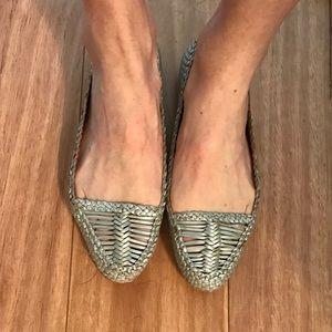 Prada Silver-Weave Flats